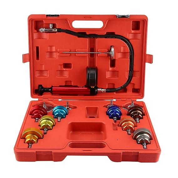 14 Unids Universal Probador de Presión del Radiador Automotriz Kit de Sistema de Sistema de Enfriamiento de Purga de Vacío de Coche Herramienta de Detector ...