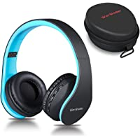 Wireless Bluetooth Over Ear Stereo Foldable Headphones, Wireless and Wired Mode Headsets with Soft Memory-Protein Earmuffs, Built-in Mic for Mobile Phone TV PC Laptop Black-Blue