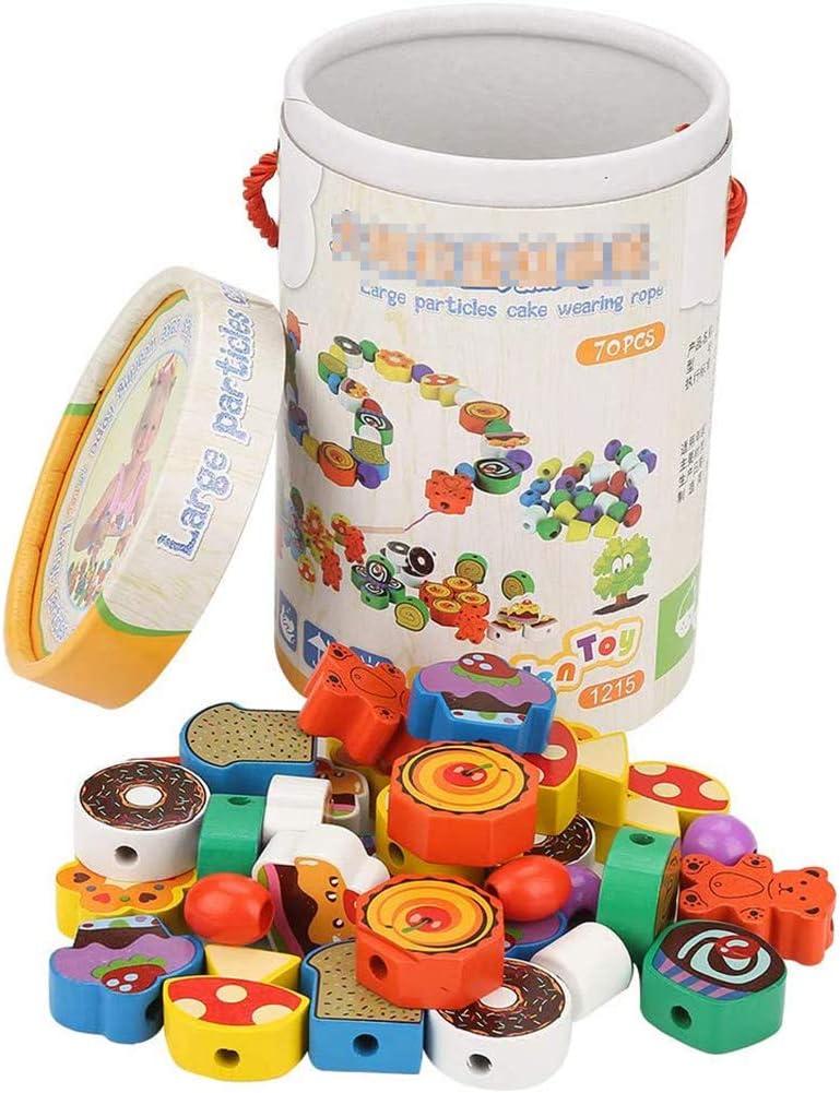 YCX Bolas de Madera Juguetes de Madera de los Granos de roscado cordón Cuentas Jumbo Primaria de encordar Conjunto Bolas, Juguetes para los niños Montessori