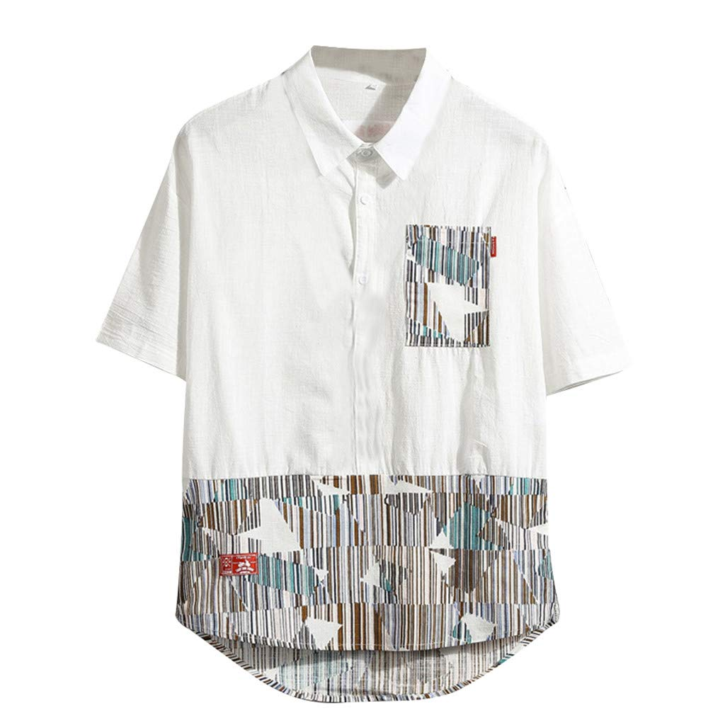 Featurestop Mens T Shirts Graphic 3XL Mens Summer Casual Fashion Printing Patchwork Short Sleeve T-Shirt Tops Blouse