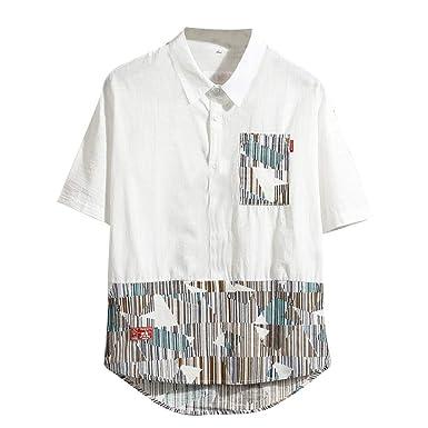 Camiseta Impresión Moda Labor de Retazos Hombres Verano Casual ...