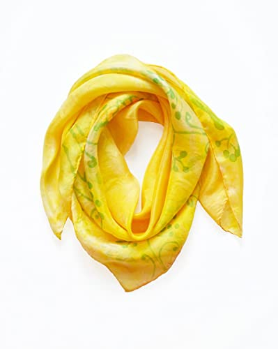 8cdd40b0e6a26 Square little Silk Scarf Hand Painted in Bright Yellow with small green  flowers, one of a kind small neckerchief for women size 29x29 inches,  bandanna for ...