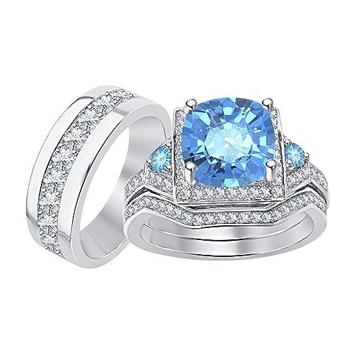 Amazon.com: RUDRAFASHION - Juego de anillos de compromiso de ...
