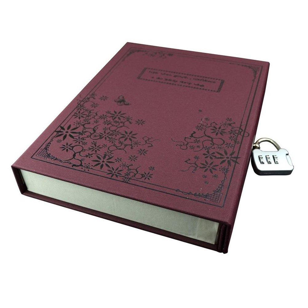 Pixnor journal Notebook Journal bloc-notes couverture rigide avec Code verrou Gift Box Vintage rouge