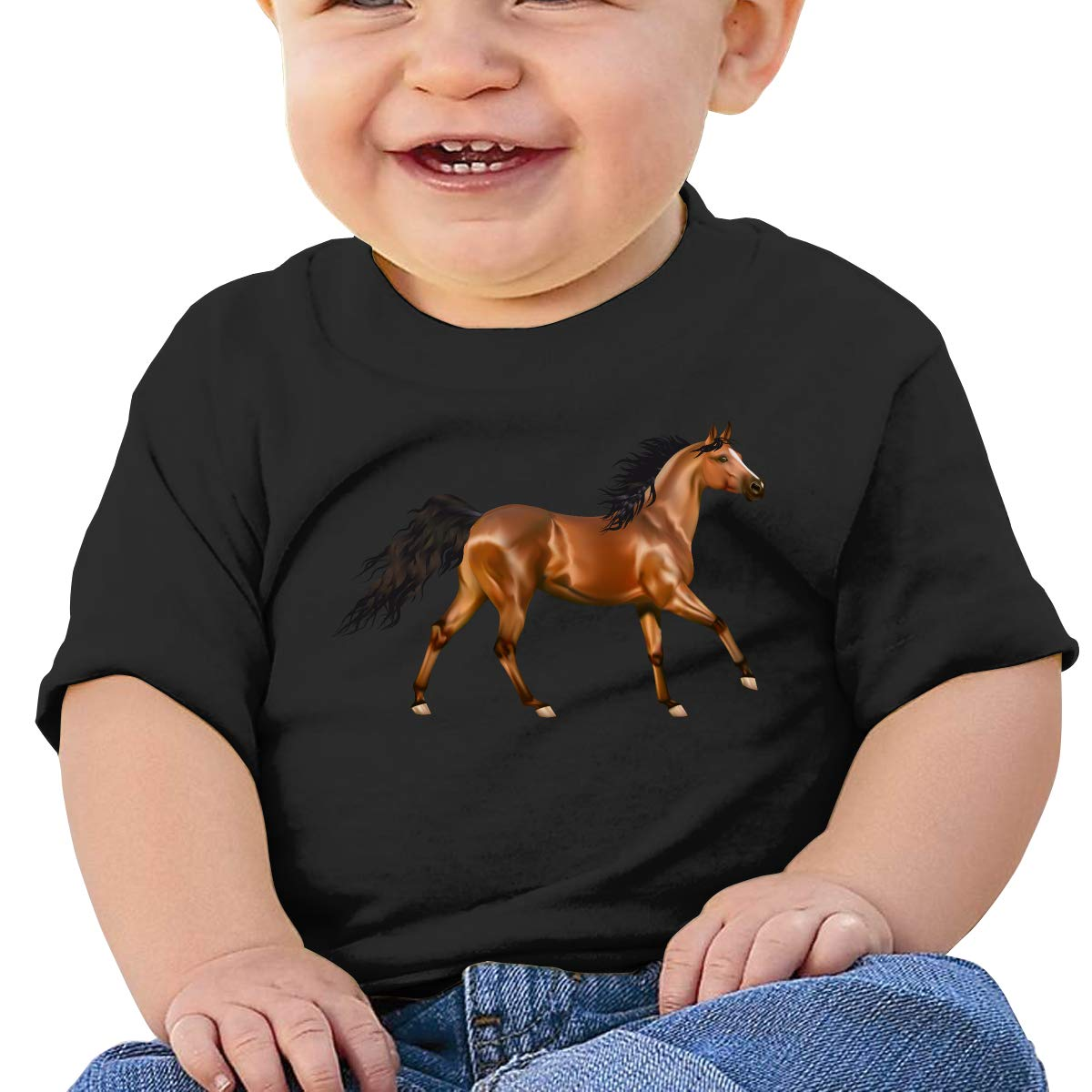 Arsmt 3D Horse Toddler Short Sleeve Shirt Girl Birthday Gift