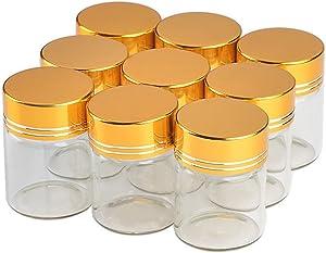 50units Empty Jars Glass Bottle with Aluminium Golden Color Screw Cap 15ml Sealed Liquid Food Gift Container Jars (50, 15ML-Golden Lid)