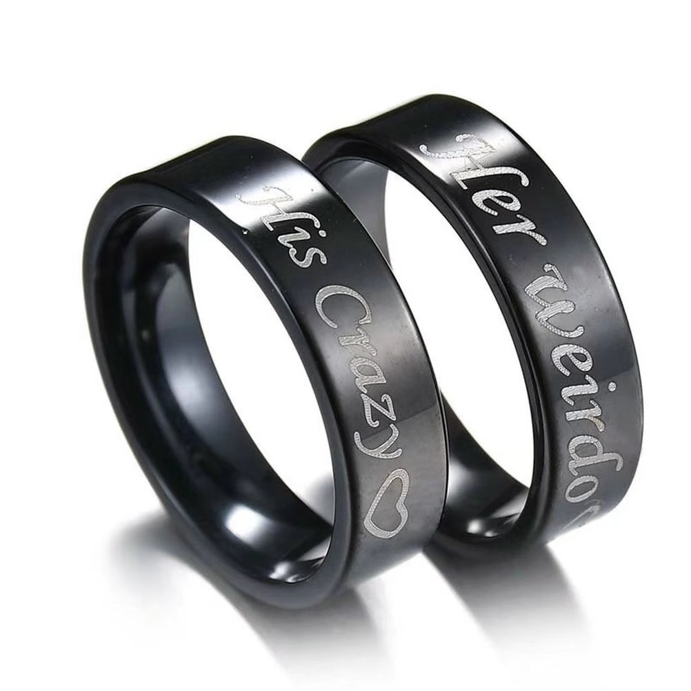 fashionlife2018 Couple Rings Wedding Band Anniversary Engagement His and Her Promise Ring His Crazy Her Weirdo Black Titanium Steel Ring 6mm Fashionlife&WaitYou FL-HHR-001PR