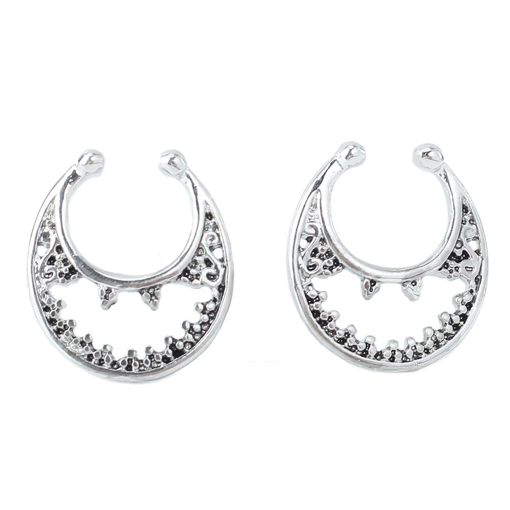 Refaxi 2pcs Fake Septum Non-Piercing Nose Rings Hanger Clip On Body Jewelry Silver Tone