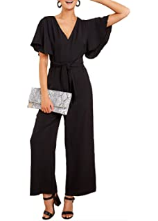 6453a8134db Paitluc Women Sexy V-Neck Lantern Sleeve Belted Wide Leg Long Pant Formal  Jumpsuits
