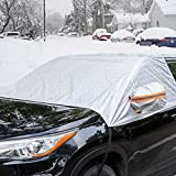 Universal Fit Windshield Snow Cover for Cars, Compact and Mid-size SUVs, Anti-theft Tuck-in Flaps,...