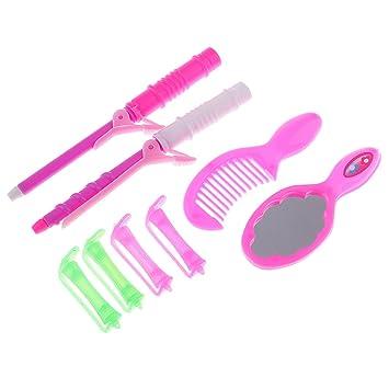 Amazon.es: Gazechimp Juego de Juguete Bigudí Rizador de Cabello + Peine + Espejo para Muñeca Barbie Dress Up: Juguetes y juegos
