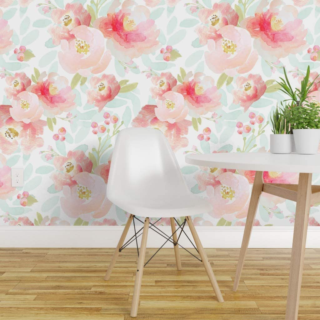 Spoonflower Non Pasted Wallpaper Floral Bloom Pink Plush Florals