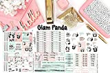 Glam Panda Sticker Kit 6 sheets on matte. Erin Condren Life Planner or Happy Planner Create 365 sizes available. Kiss cut, just peel and stick.