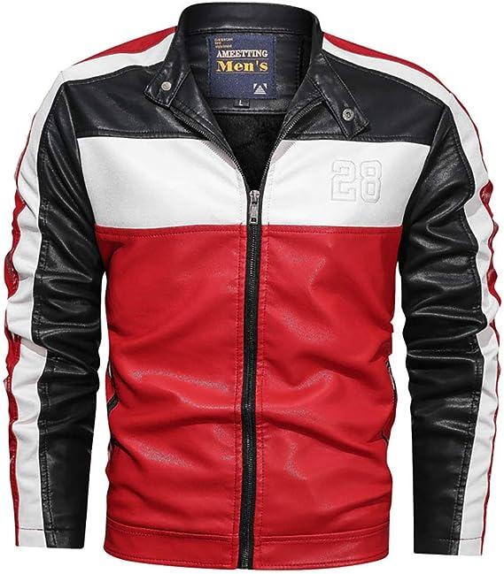 メンズレザージャケットメンズPuレザージャケット、冬のオートバイレザーコート、メンズウェアスタンドカラーオスジャケット