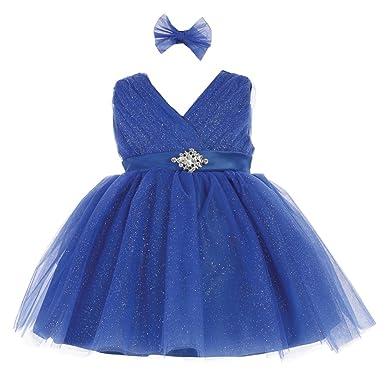 fdd5b912 Baby Girls Royal Blue Glitter Tulle Rhinestone Brooch Flower Girl Dress 6M