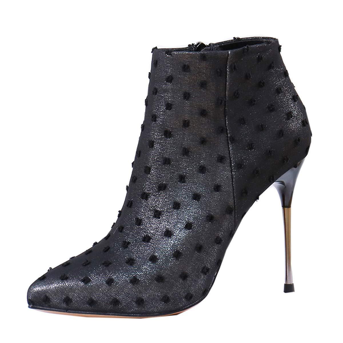 LBTSQ-Sexy Schlank Spitze Dünn Und Hochhackige Schuhe 10Cm Temperament Reißverschluss Martin Stiefel Kurze Stiefel.