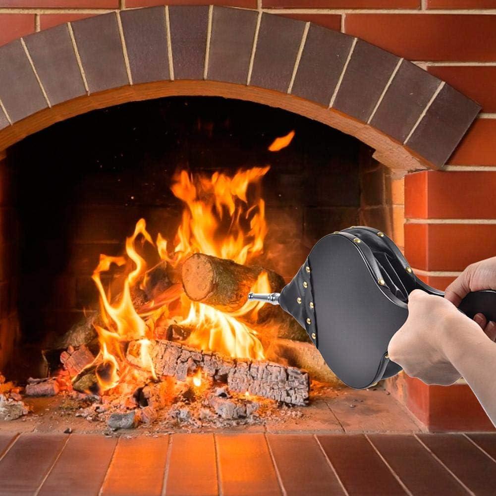 Barbecue Barbecue Allume-feu Rapide pour Camping 43 x 9 x 4,5 cm en Bois Soufflet /à Main pour chemin/ée et Barbecue Dinapy Soufflet de chemin/ée Ventilateur Tigre Allume-feu en Cuir