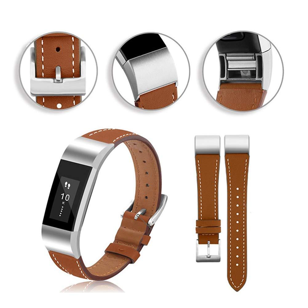 Ariymap Gen/ähtes Modell Echtes Leder Ersatzarmband Mit Anschluss F/ür Fitbit Charge 2