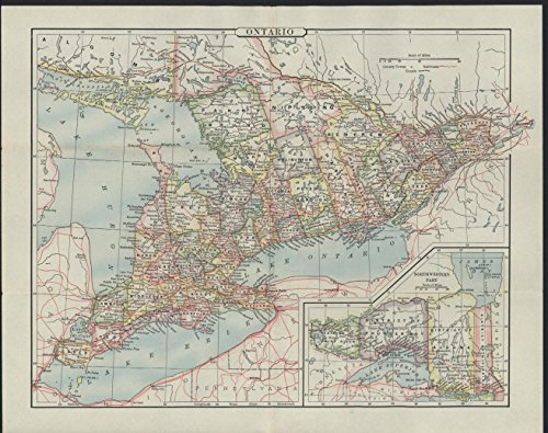 Ontario Province Canada 1896 antique engraved map