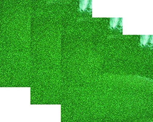 10x12(1 Foot) 3-Sheets,Siser Glitter Iron-on Heat Transfer Vinyl HTV for T-Shirts(Grass-Green)