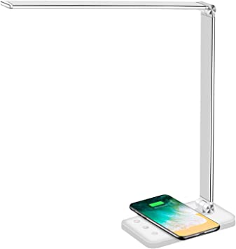 Eye-Caring Table Lamps Qi Wireless Charging Stand with Color Bedside LED Mood Lights for i//Phone for Galaxy LED Desk Lamp with Wireless Charger White