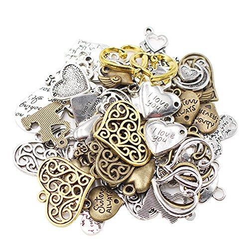 LAOZHOU 100 Gram Mixed Antique Metal Alloy Heart-shaped - Pendants Charms