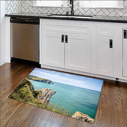 Soft Non Slip Absorbent Bath Rugs Cliffs of Etretat in Normandy,France Machine Washable Large Mats Materials W17