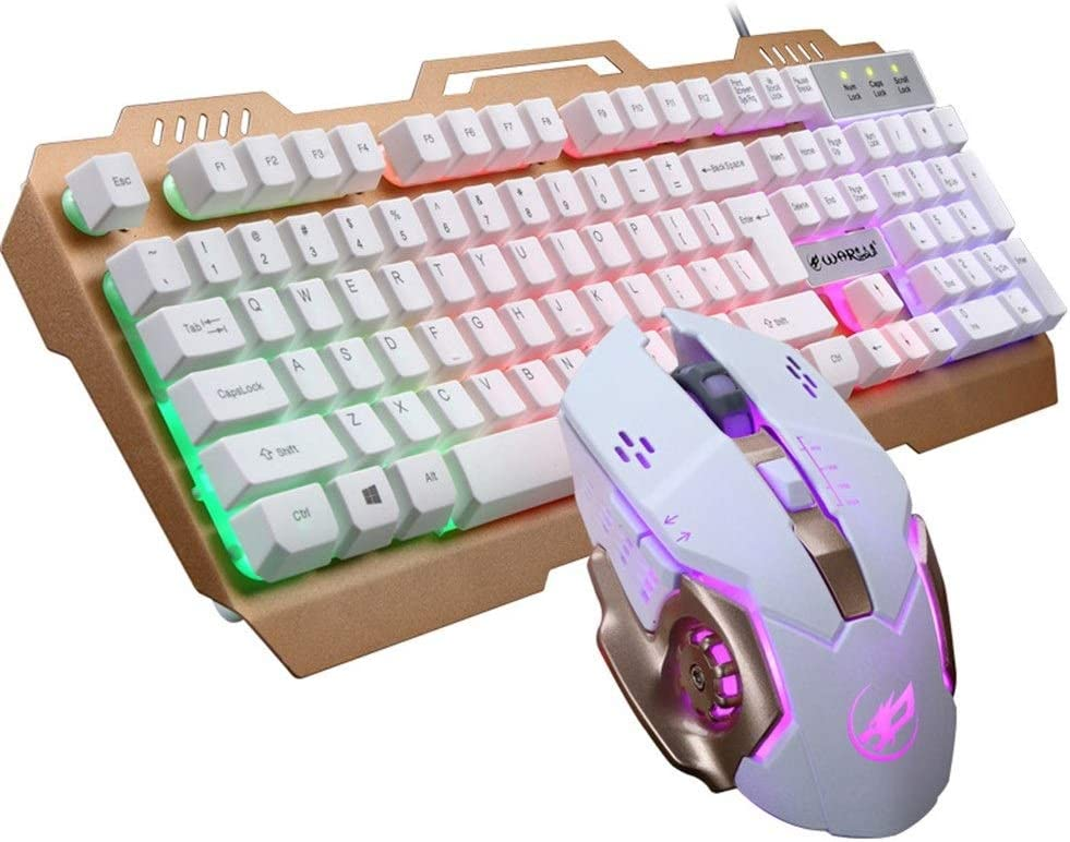 Wired Computer Accessories Office Game Dedicated Color : White Mouse MUZIWENJU Keyboard USB Mechanical Gaming Keyboard and Mouse