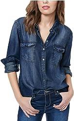 Buffalo David Bitton Womens Long Sleeve Chambray Shirt