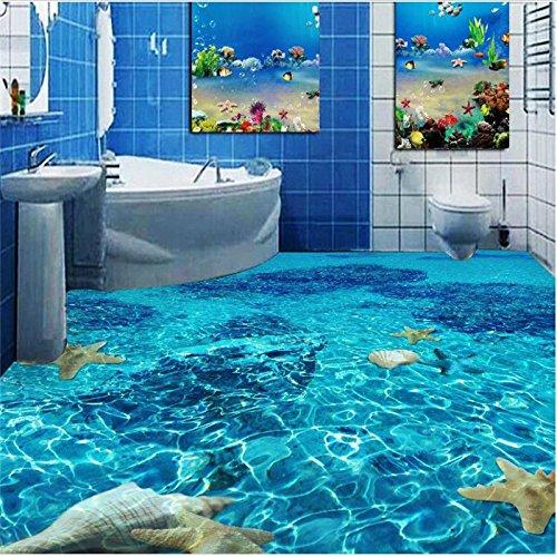 Mznm wall stickers floor 3 d floor of sitting room wall paper waterproof self-adhesive PVC 3 d bathroom 3d flooring 120X100cm