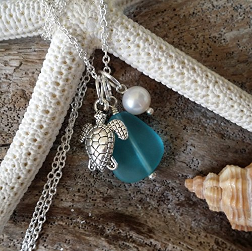 Handmade sea glass jewelry from Hawaii, blue sea glass necklace, fresh water pearl, sea turtle charm, sterling silver chain, Hawaiian Gift, FREE gift wrap, FREE gift message, FREE shipping from yinahawaii