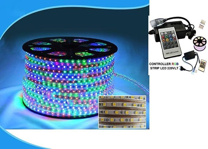 Strisce led illuminazione 50m 220v cambia colore rgb led strip 5050