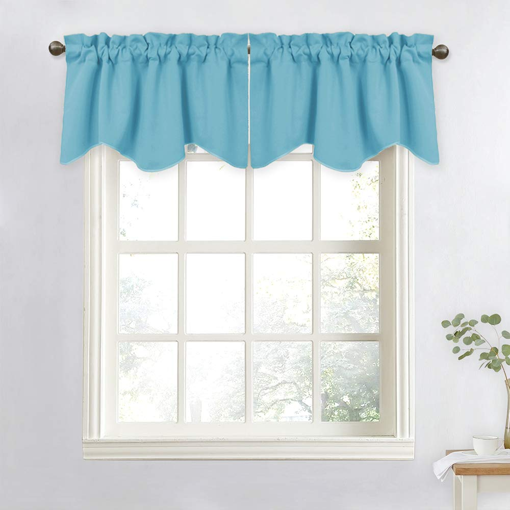"""NICETOWN Window Valances for Small Window - 52"""" W by 18"""" L Rod Pocket Window Curtain Valance Set for Cafe Store (Teal Blue, 2 Pieces)"""