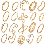 17 MILE 10-20 Pcs Vintage Knuckle Stackable Rings Set for Women, Bohemian Gold/Silver Plated Comfort Fit VSCO Wave Joint…