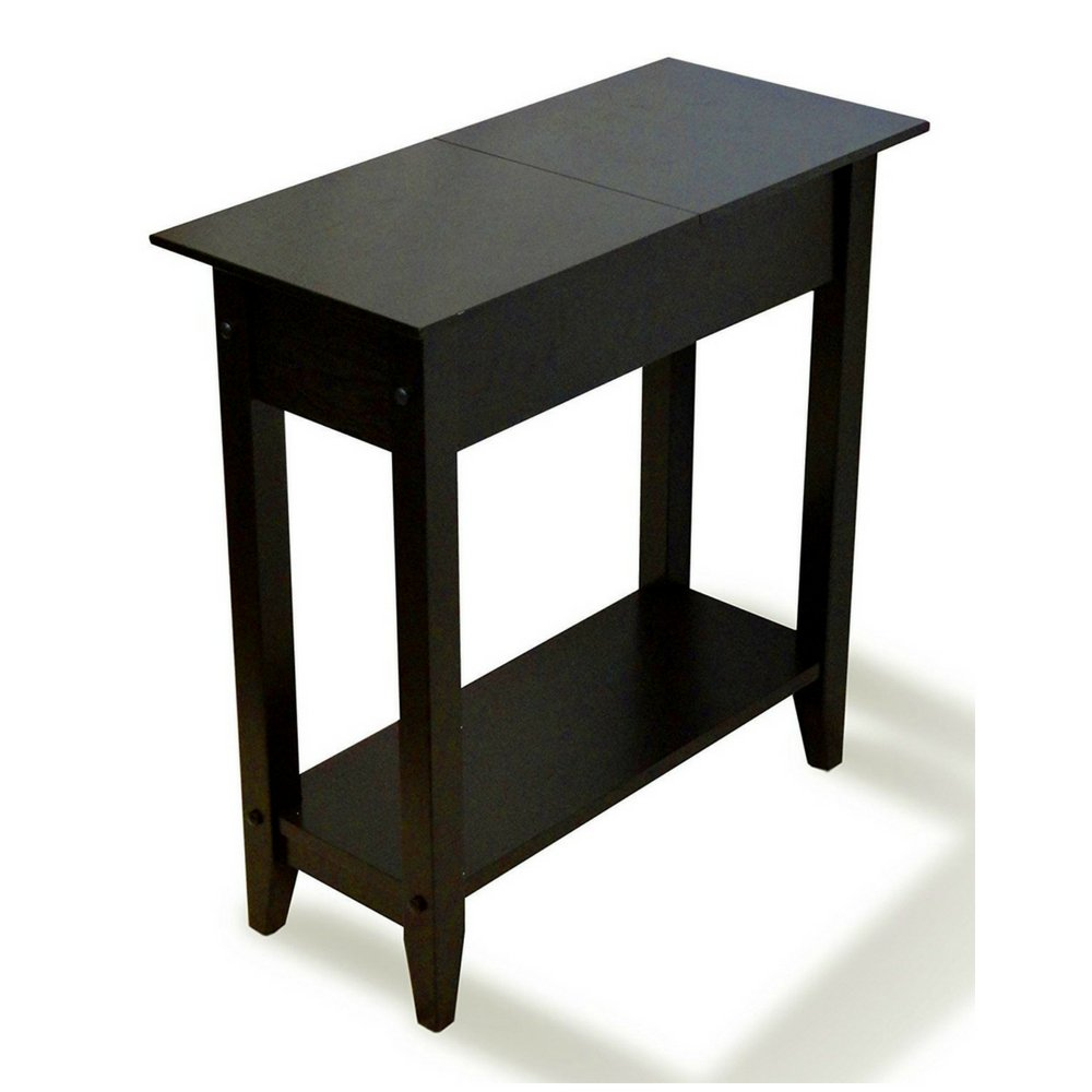 Slim end table with storage tall flip top space saver wooden narrow shelf living room nightstand chairside bedside sofa table phone stand hallway home
