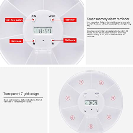 Amazon.com: FOONEE Week Pill Box, 5 Groups Clock Alarm Reminder Pill Case Travel, 7Day Pill Box (White): Health & Personal Care