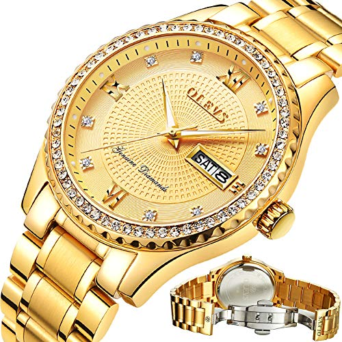 Gold Watches for Men,Gold Stainless Steel Mens Luxury Wrist Watch,Day Date Watches for Men,Roman Numeral Business Casual Fashion Analog Quartz Wrist Watch,Luminous Watches Men,Classic Watch for Boys