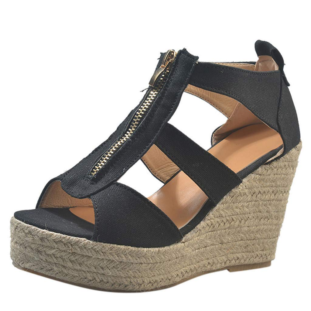 Auniemifly Women Front Zipper Hollow Wedge Peep Toe Woven Sandals High Slope Espadrilles Shoes Black by Aunimeifly