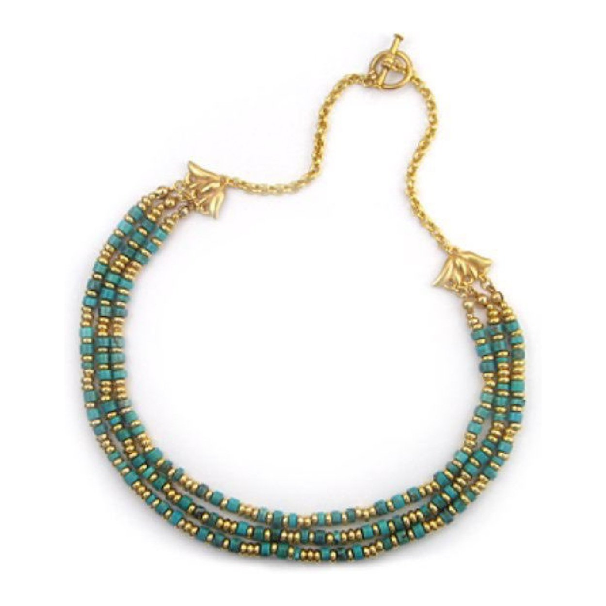 Egyptian Royal Collar Blue Turquoise Lotus Toggle Necklace, 16'' Museum Collection, Handmade USA