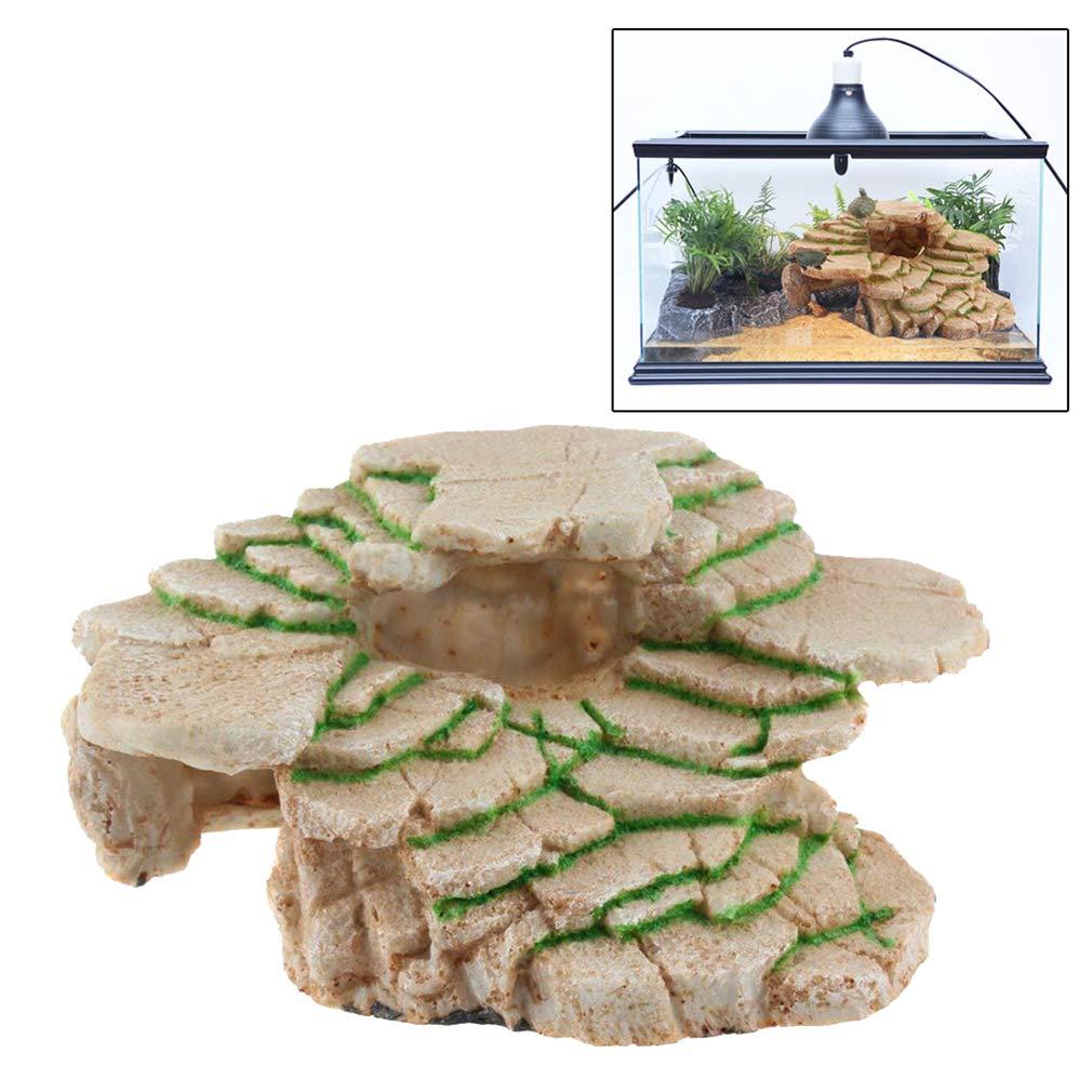Reptiles Rocks junkai Turtle Platform Stone Rock Step Ledge and Gecko Cave Hideout Aquarium Resin Decor