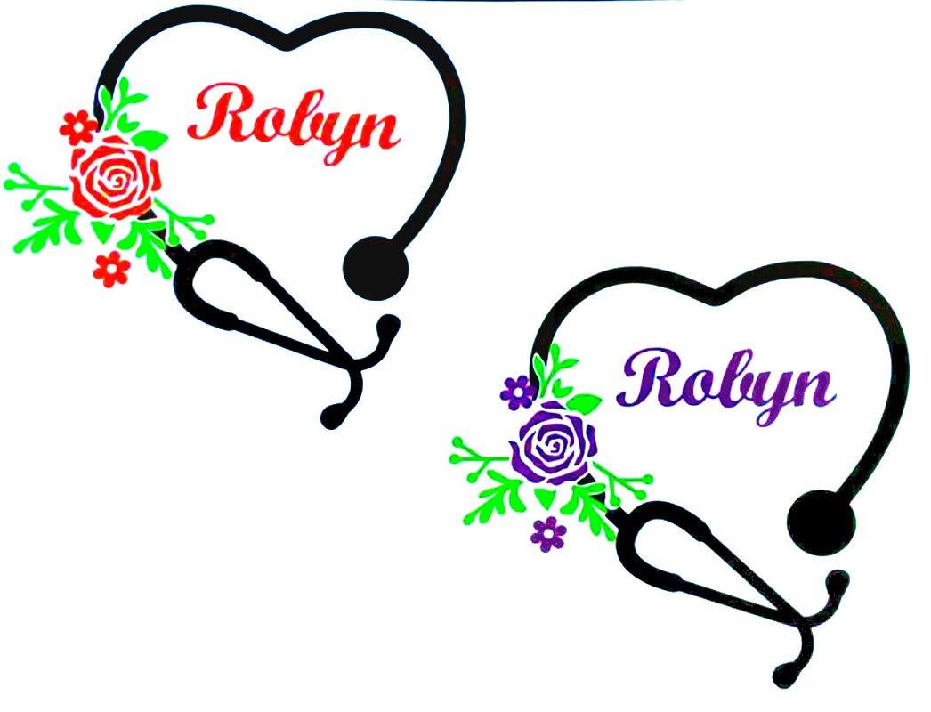 Nurse Name Stethoscope Heart monogram Decal Sticker Rambler Tumbler Car Window