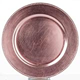Efavormart 24 pcs 13'' Blush Beaded Round Charger Plates