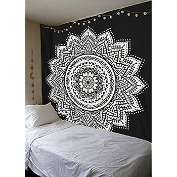 Black White mandala Tapestry By Madhu International, Mandala Wall Tapestries, Mandala Wall Art