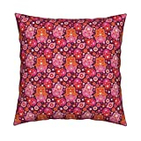 Roostery Flower Hamsa Arabic Muslim Girls Oriental Kids Linen Cotton Throw Pillow Cover Colorful Arabic Hamsa Hand Of by Littlesmilemakers Cover w Optional Insert