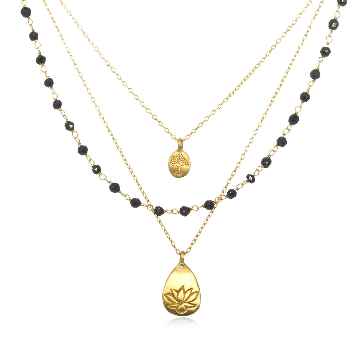 56615678ed802a Amazon.com: Satya Jewelry Classics Onyx Lotus and Tree of Life Triple-Chain  Necklace (18-Inch): Pendant Necklaces: Jewelry
