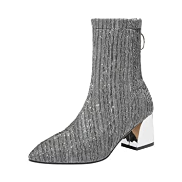 Botines Mujer Invierno ZARLLE Calzado Puntiagudo de Ocio para Mujer Calzado Antideslizante Talón Grueso Elástico Botines Botines cuña de Mujer: Amazon.es: ...