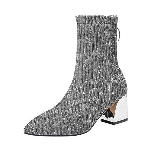 Calcetines Zapatos Botas de Tacón Mujer, LANSKIRT Ocio Calcetines Puntiagudos Zapatos Antideslizante Elástico Grueso del Talón Botines: Amazon.es: Zapatos y ...