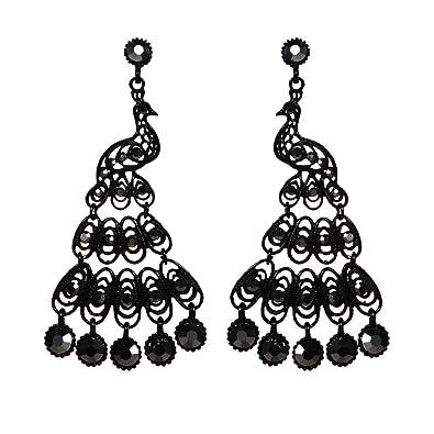 0843e99d1 Amazon.com: XBKPLO Retro Black Peacock Tassel Earrings Wild Hollow Fringe  Black Gem Earrings Hypoallergenic Women's Elegant Jewelry Gifts: Jewelry