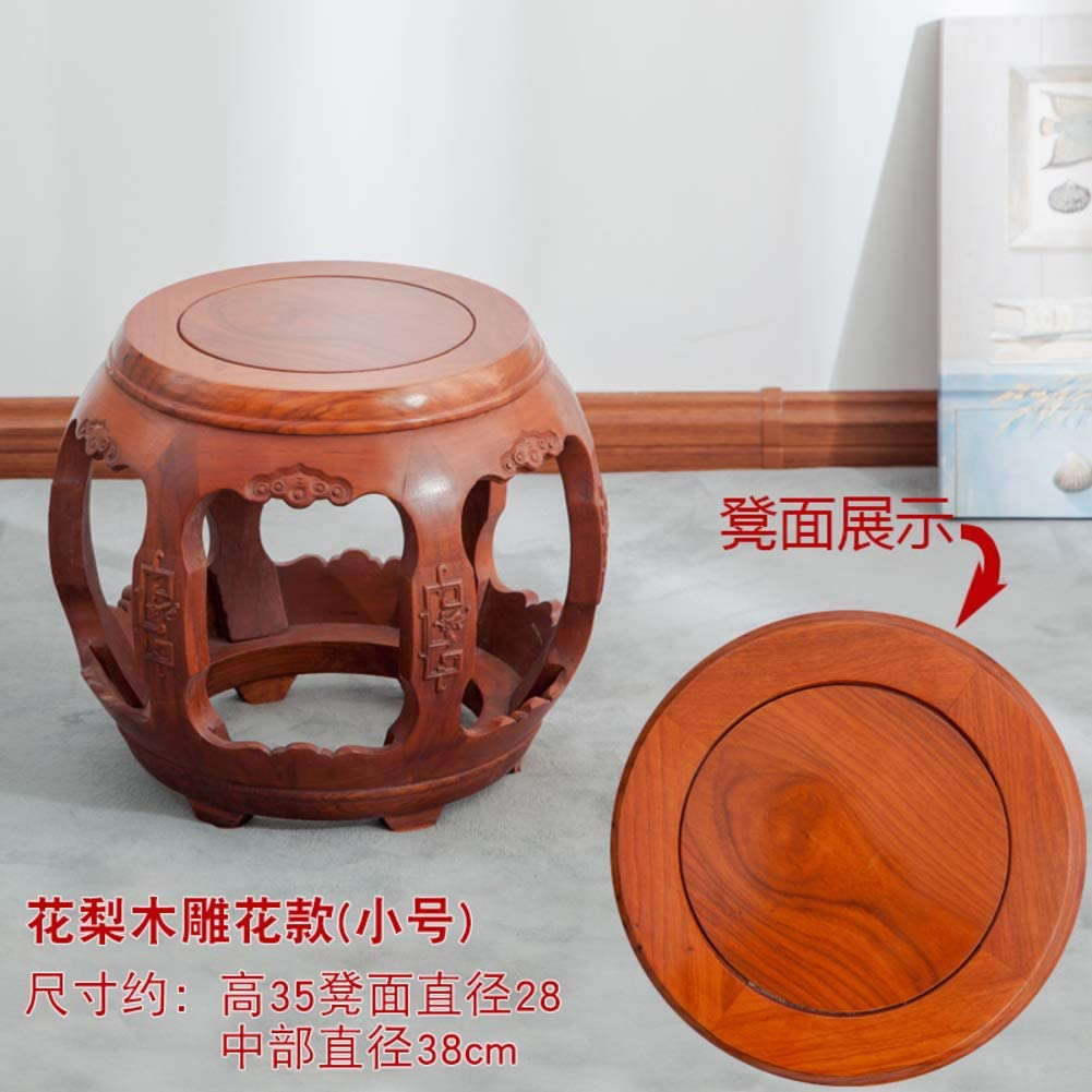 Chinese Style Redwood Stool Footstool Chair Ottoman China Retro Classic Wooden Stools for Living Room Bedroom Home-F 38x38x35cm(15x15x14in)