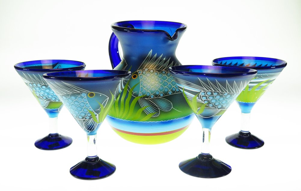Mexican Glass Margarita Martini & Pitcher, Hand Painted with Fish (Set of 4)